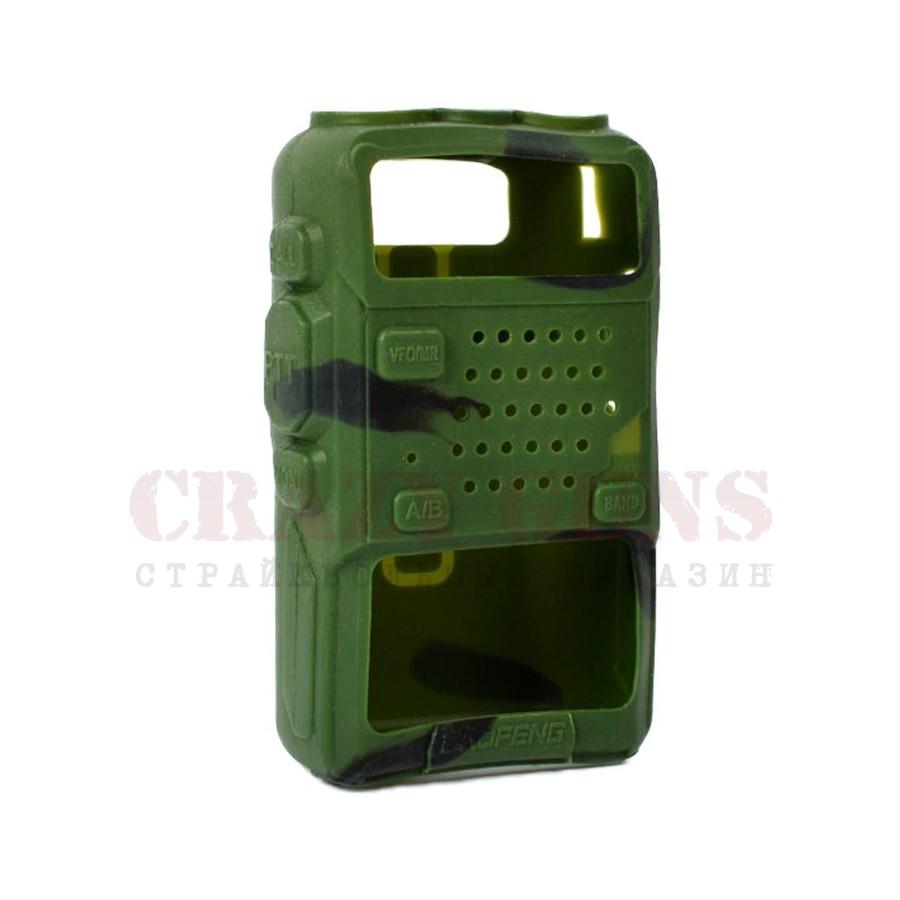 Бампер (чехол) резиновый для UV-5R. Зеленый комуфляж
