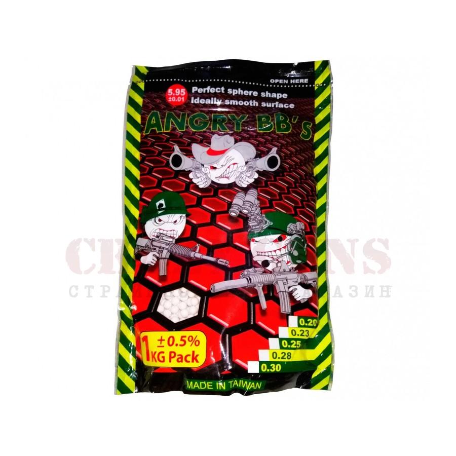 Шары ANGRY BBs® 0,30 (белые, 1кг. пакет) AG-030