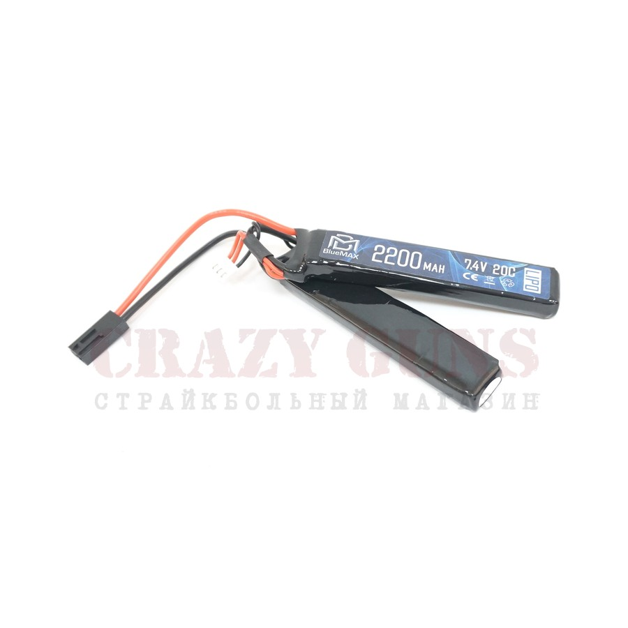 АКБ BlueMax  7.4V Lipo 2200mAh 20C nunchuck 2x (12x20x102)