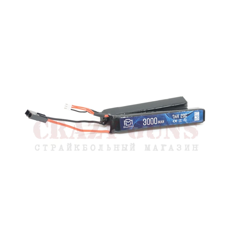 АКБ BlueMax 7.4V Lipo 3000mAh 20C nunchuck 2x (17.6x25x128)