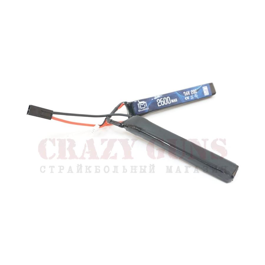 АКБ BlueMAX 7.4V Lipo 2600mAh 20C nunchuck 2x (12.5x21x128)