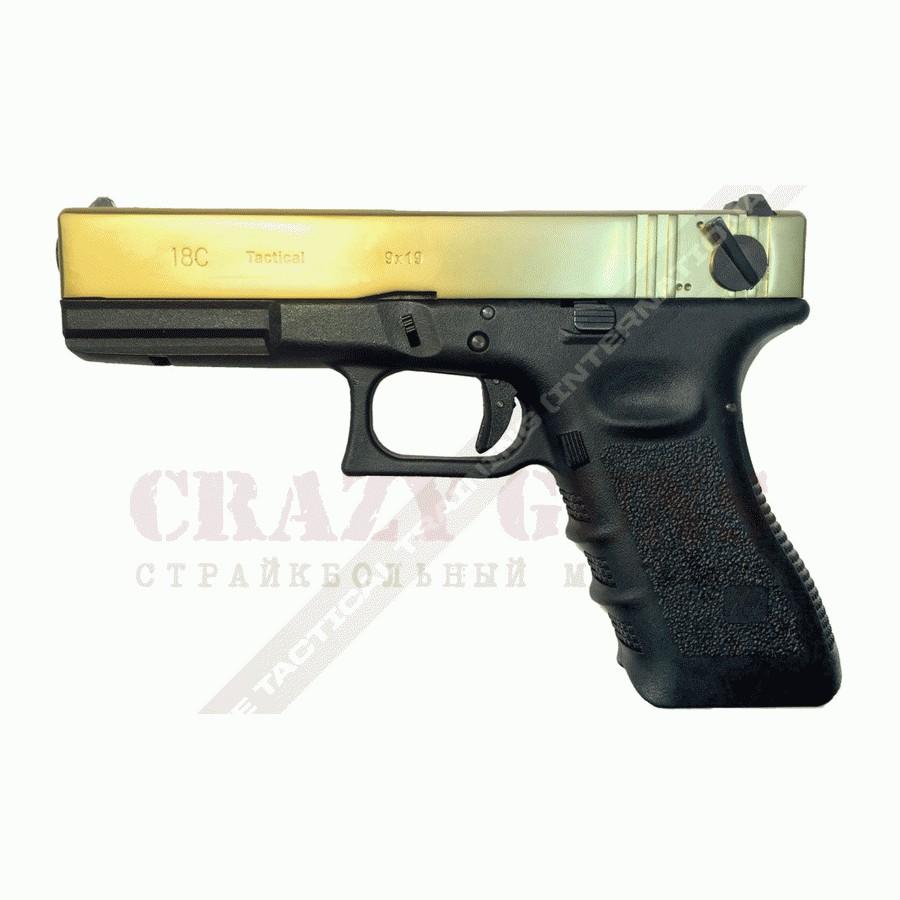 ПИСТОЛЕТ ПНЕВМ. WE GLOCK-18 gen3, авт, металл слайд, Titanium Version WE-G002A-TG