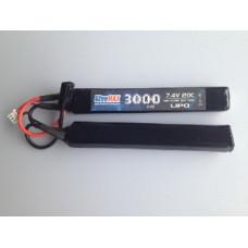 АКБ BlueMAX 7.4V Lipo 3000mAh 20C nunchuck 2x (17.6x25x128) М-серия цевье, приклад