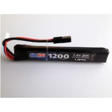 АКБ BlueMAX 7.4V Lipo 1200mAh 20C stick (13.3x21x128) М-серия цевье, приклад, G36