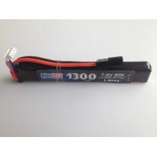АКБ BlueMAX 7.4V Lipo 1300mAh 20C stick 13.5x21x128mm приклад весло, крейнсток, АК  под крышку